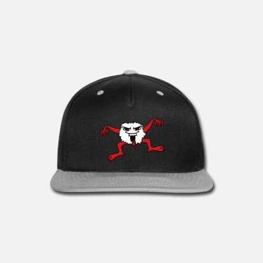 Tongue little hairy monster face evil funny eyes mouth to - Snapback Cap