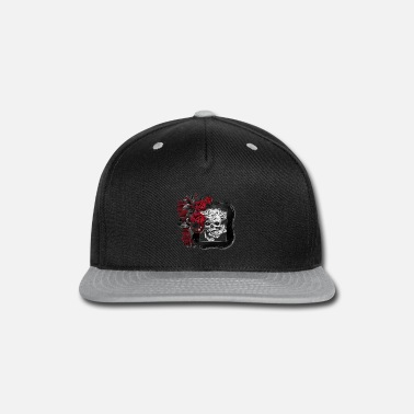 9a094c14819 Blood red roses frame a ancient skull Snapback Cap