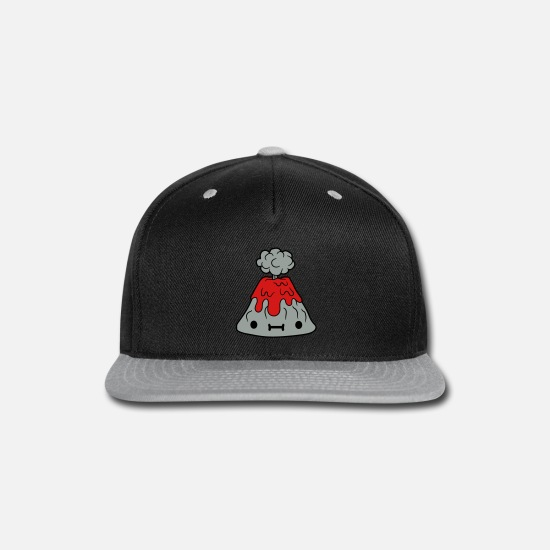 Nature Caps - small sweet volcano with face - Snapback Cap black/gray