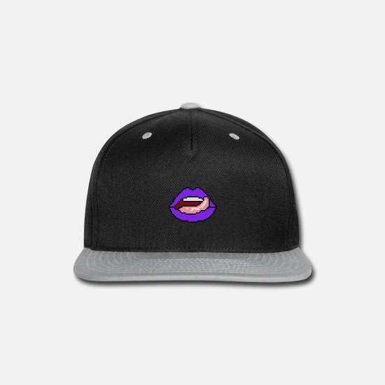 Tongue Caps - Purple mouth with tongue - Snapback Cap black/gray