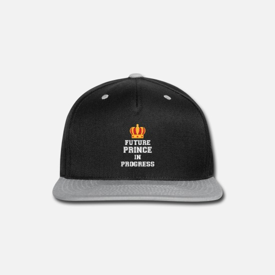 Love Caps - Future Prince in Progress pregnant mom shirt - Snapback Cap black/gray
