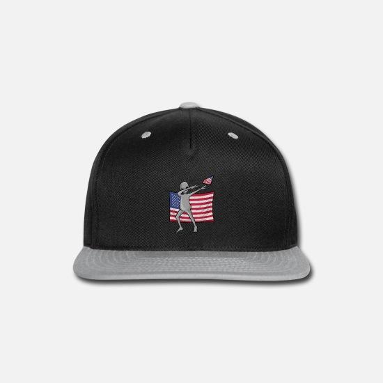 933982b4 Dab For Freedom Alien American Flag Snap-back Baseball Cap - black/gray