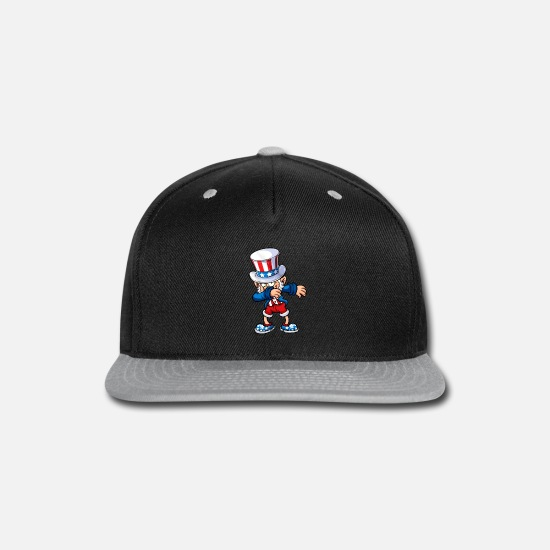 4th Of July Caps - 4th of july dabbing uncle sam - Snapback Cap black/gray