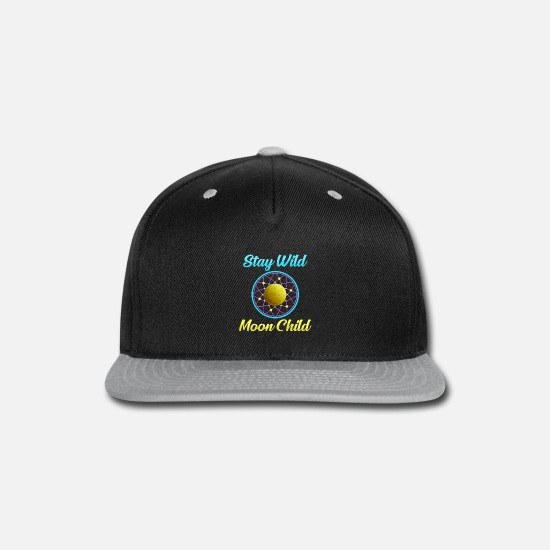 Psytrance Caps - Stay Wild Moon Child Moonlight Gift Psytrance - Snapback Cap black/gray