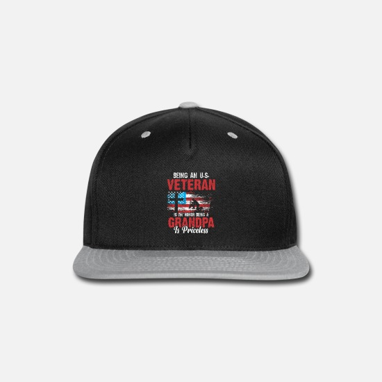 Army Caps - BEING AN U S VETERAN IS AN HONOR BEING A GRANDPA - Snapback Cap black/gray