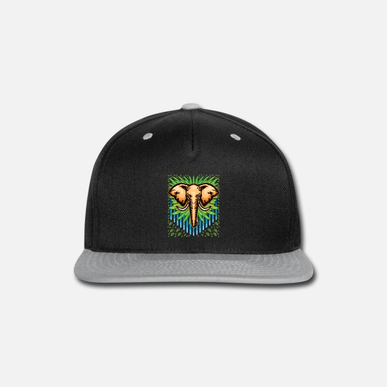 Junglecontest Caps - Elephant Vector Drawing - Snapback Cap black/gray
