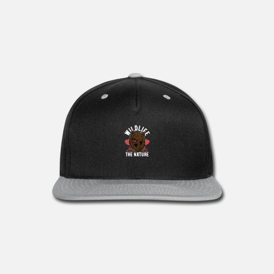 Love Caps - Wildlife nature grizzly bear. - Snapback Cap black/gray