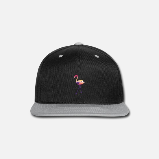 Art Caps - Flamingo Wading Bird Funny Animal Silhouette Gift - Snapback Cap black/gray