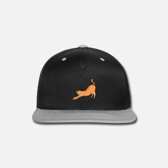 Cat Lover Caps - Stretching Yoga Cat Namaste Retro Style Funny Yoga - Snapback Cap black/gray