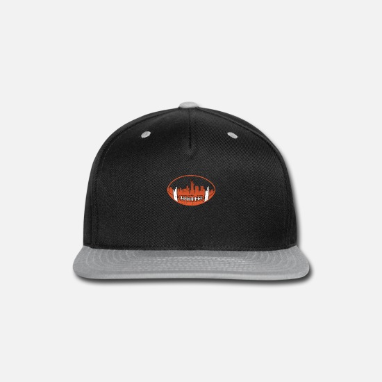 New World Order Caps - Downtown new york City Skyline rugby ball T Shirt - Snapback Cap black/gray