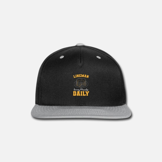 Football Caps - Football Lineman, Serving Pancakes Daily - Snapback Cap black/gray