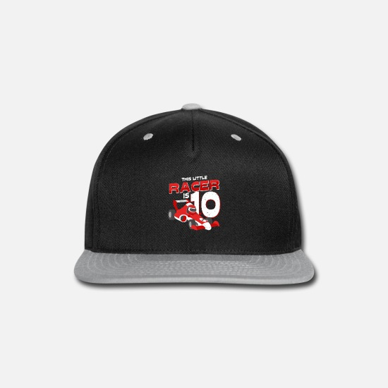 Speedy Caps - This Little Racer Is 10 Years 10th Birhtday Gift - Snapback Cap black/gray