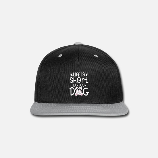 Jack Caps - Life is short hug your Dog cute puppy gift - Snapback Cap black/gray