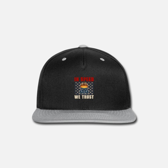 Diesel Caps - Hot Rod Drag Racing Racecar American Flag Design - Snapback Cap black/gray