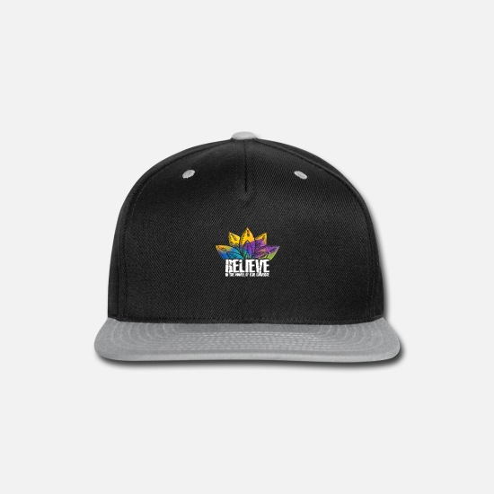 Yoga Caps - Abstract Colored Floral Believe In The Power Of - Snapback Cap black/gray