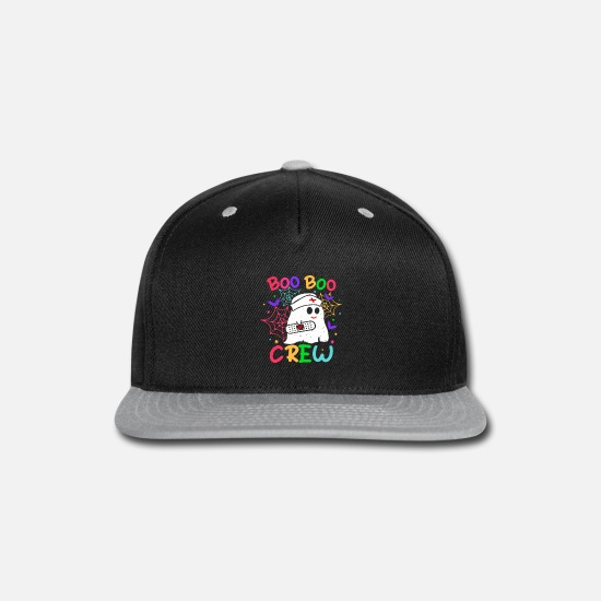 Boo Caps - Boo Boo Crew design Halloween Ghost Nurse T Shirt - Snapback Cap black/gray