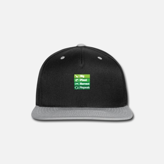 Farm Caps - Dig Plant Harvest Repeat Farming Plants Garden - Snapback Cap black/gray