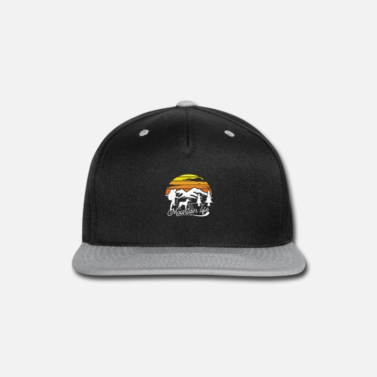 Camper Caps - Mountain Life hills and rock climbing - Snapback Cap black/gray
