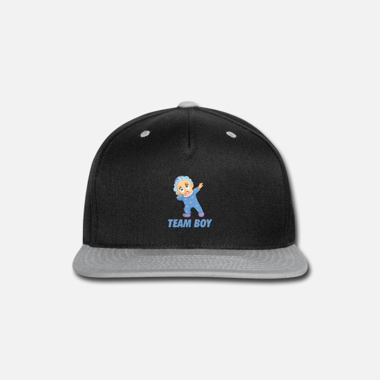 Funny Caps - Team Boy Gender Reveal - Snapback Cap black/gray