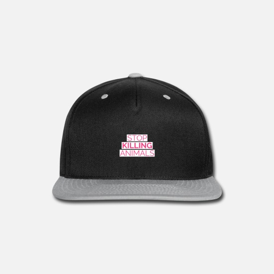Animal Welfare Caps - Stop animals kill food vegan vegetarian saying - Snapback Cap black/gray