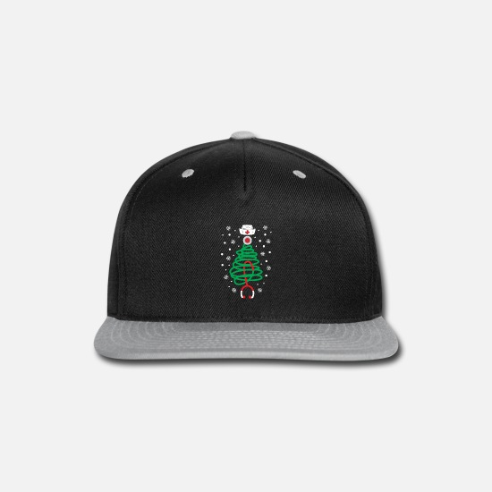 Nurse Caps - Christmas Tree Xmas Nurse Stethoscope Snow - Snapback Cap black/gray