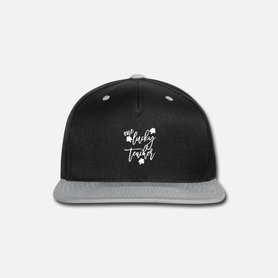 Teacher Caps - Womens One Lucky Teacher Paddys Day Cute - Snapback Cap black/gray