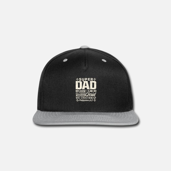 Tees-god Caps - Christian Dad T-shirt Can Do Through Christ Gift - Snapback Cap black/gray