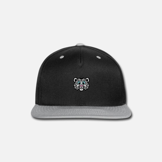 Blue Sky Caps - Cute Cartoon Tiger Cat Blue Eye s - Snapback Cap black/gray