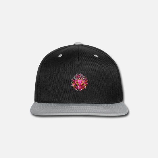 Divine Caps - Grow a pair Uterus Floral Design - Snapback Cap black/gray