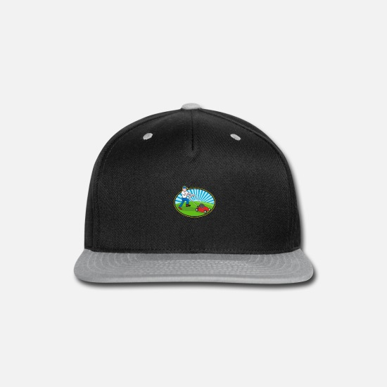 Animal Caps - Mower Mowing Lawn Within Circle Retro - Snapback Cap black/gray