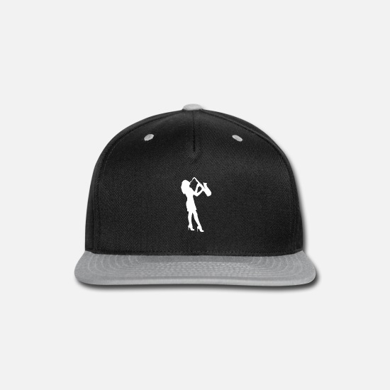Saxony Caps - Female Sax Player funny tshirt - Snapback Cap black/gray