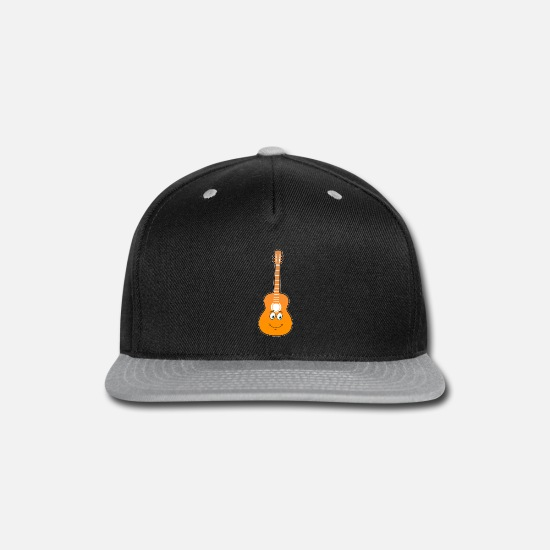 Guitar Caps - Uke I am your father cute guitar with face present - Snapback Cap black/gray