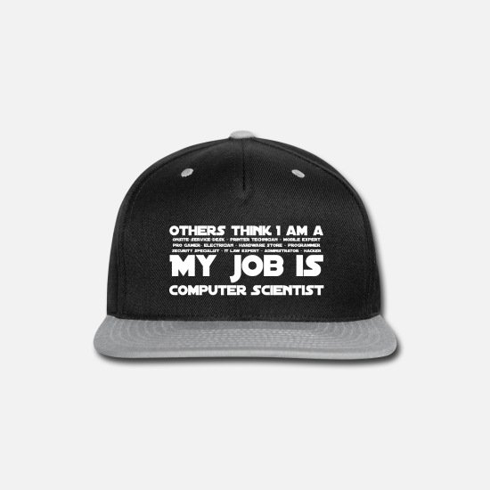 Technology Caps - Computer Scientist white text - Snapback Cap black/gray