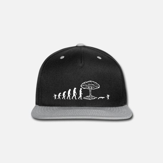Darwin Caps - Evolution of man : nuclear explosion - Snapback Cap black/gray