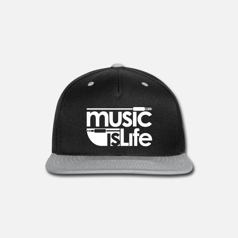 Funk Caps - Music is Life - Snapback Cap black/gray