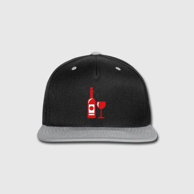 wine bottle - wine glass - Snap-back Baseball Cap