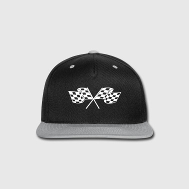 Racing - Racer - Checkered Flag - Snap-back Baseball Cap