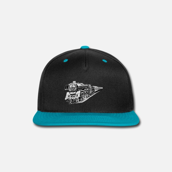 Steam Caps - steam locomotive - Snapback Cap black/teal