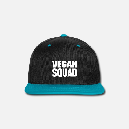 Vegetarian Caps - VEGAN SQUAD Humourous Quotes On Tshirt Great Gift - Snapback Cap black/teal