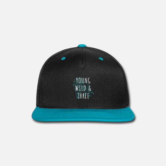 Young Caps - Young Wild & Three | 3yo Lion Constellation - Snapback Cap black/teal