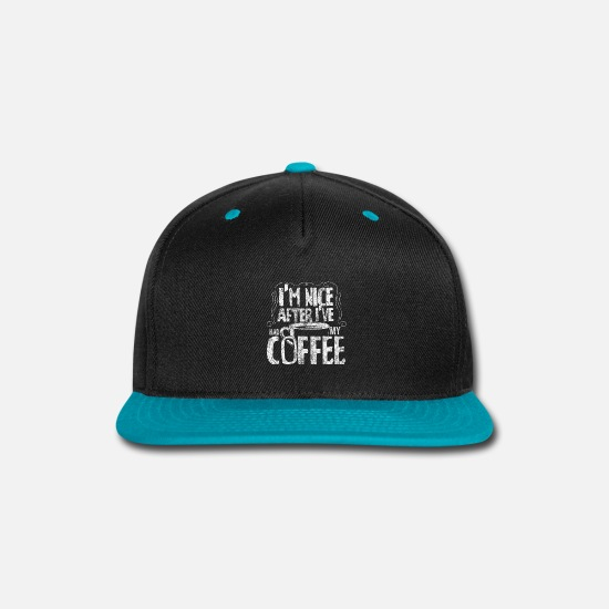 Funny Caps - Coffee Saying - Snapback Cap black/teal