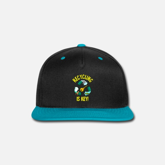 Birthday Caps - Recycling Is Key Cute Eco Environment Health - Snapback Cap black/teal