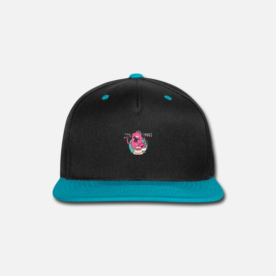 Birthday Caps - Birthday Celebration Gift Cute Monster Theme Cake - Snapback Cap black/teal