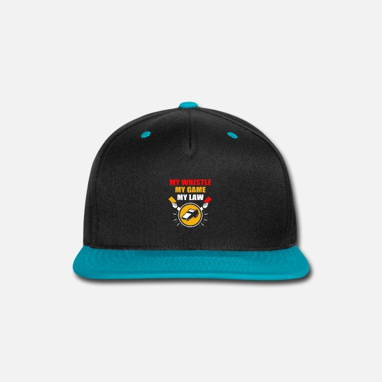 Soccer Caps - Referee Ref Red Card Yellow Football Costume Pipe - Snapback Cap black/teal