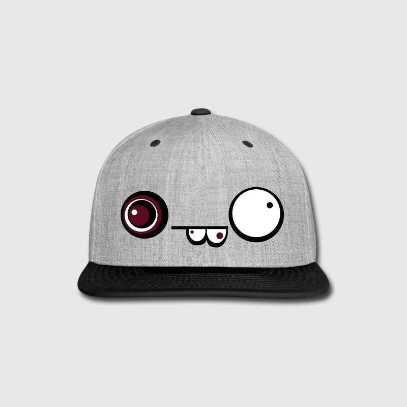 Derpy Crazy Face Cap (Grey) - Snap-back Baseball Cap