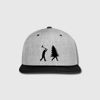 Funny Christmas tree is chased by Lumberjack - Snap-back Baseball Cap