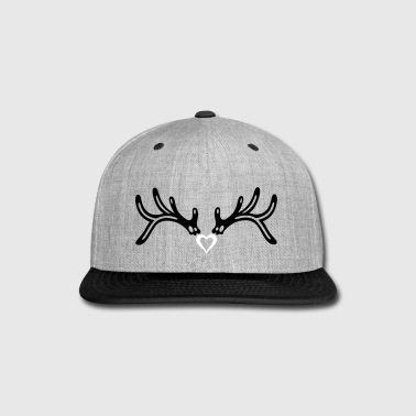 Reindeer antler with heart, girlie style. - Snap-back Baseball Cap