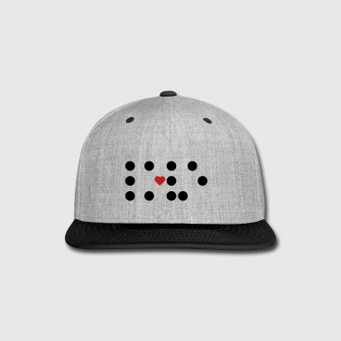 Braille - dots and a heart - Snap-back Baseball Cap