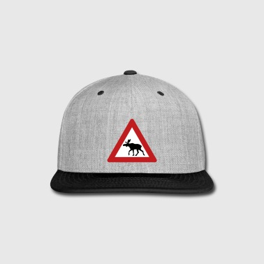 Norwegian Moose Elk Crossing Traffic Sign - Snap-back Baseball Cap