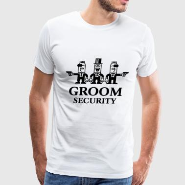 Groom Security Cartoon (Stag Party / 1C) - Men's Premium T-Shirt